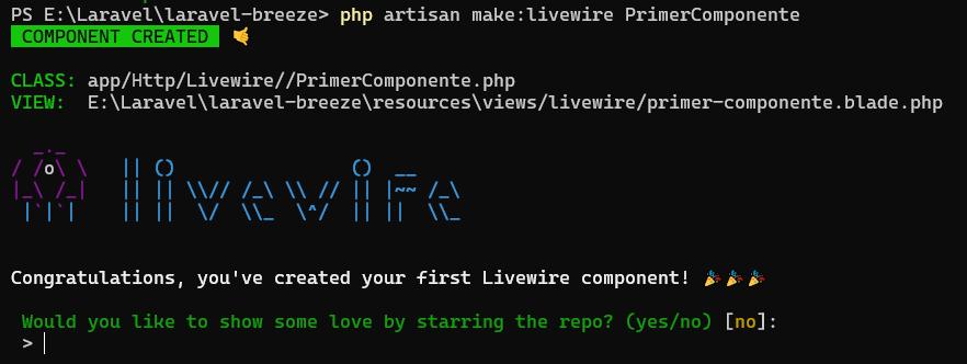 Primer componente livewire
